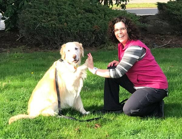 Certified Professional Dog Trainer Karen DiCostanzo and her Golden Retriever, Sunny!